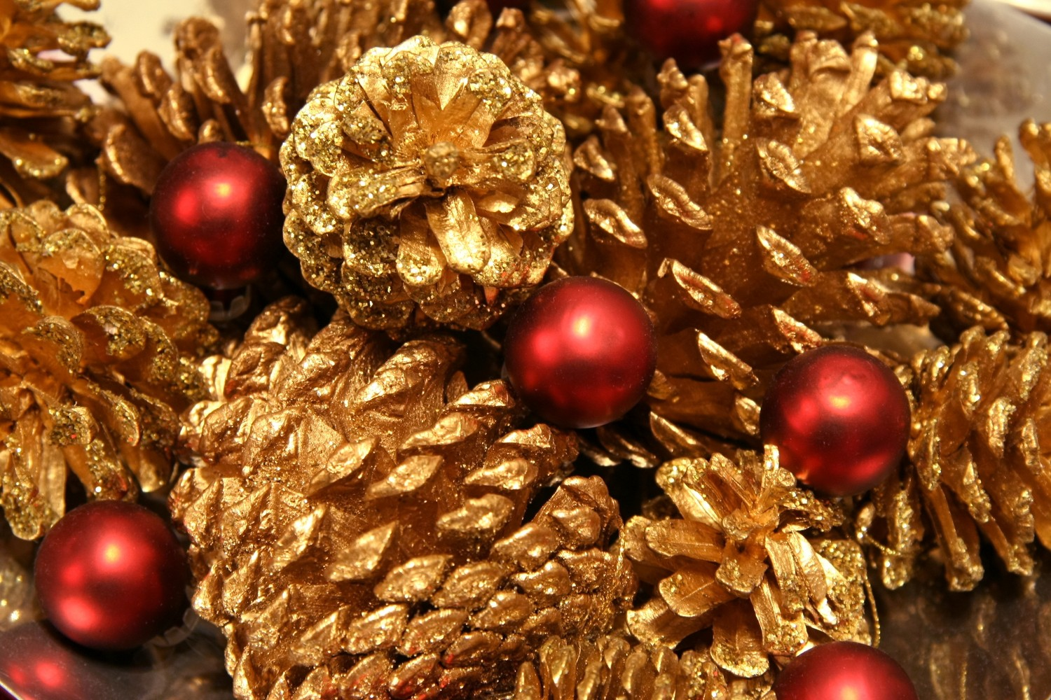 Golden Pinecones and Christmas Bobbles