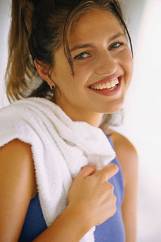 Woman Smiling After Working Out